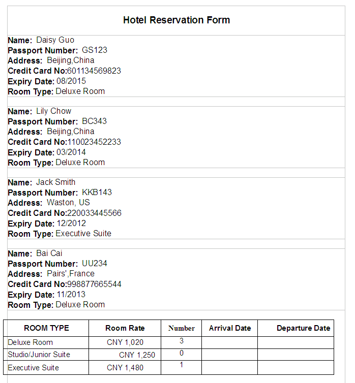 Amazing Reservation Sheet Template Free